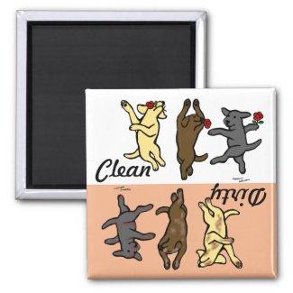 Happy Dancing Labradors Clean / Dirty Fridge Magnet