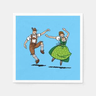 Happy Dancing Oktoberfest Couple Napkin