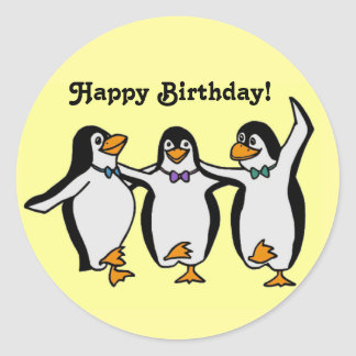 Happy Dancing Penguins Birthday Party Classic Round Sticker