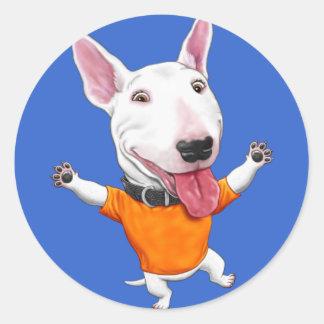 Happy Dancing Puppy Classic Round Sticker