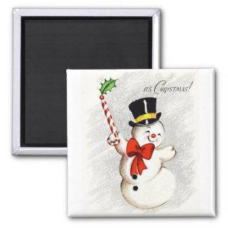 Happy Dancing Snowman Vintage Magnet