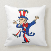Happy Dancing Uncle Sam Throw Pillows