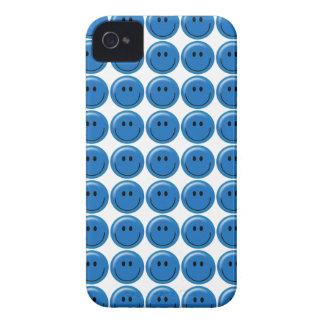 Happy dark blue smiley face iPhone 4 cases