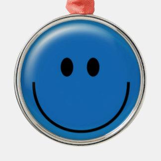Happy dark blue smiley face metal ornament