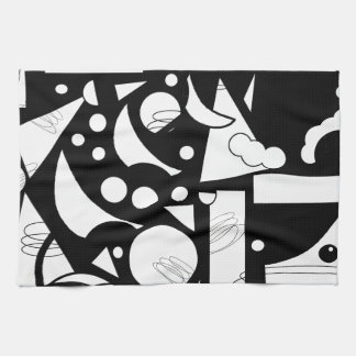 Happy day - black and white kitchen towels