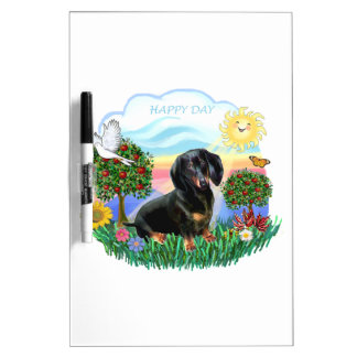 Happy Day - Black-Tan Dachshund Dry-Erase Whiteboards