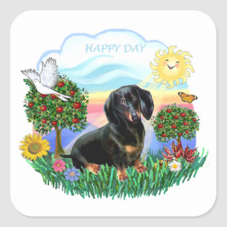 Happy Day - Black-Tan Dachshund Square Sticker