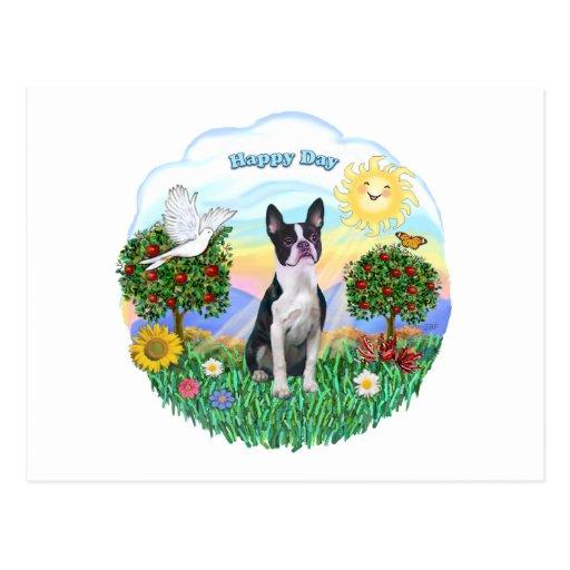 HAPPY DAY - Boston Terrier Postcard