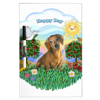 Happy Day - Brown Dachshund Dry-Erase Whiteboard