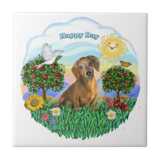 Happy Day - Brown Dachshund Tile