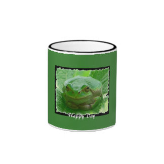 Happy Day - green frog on leaf Ringer Mug