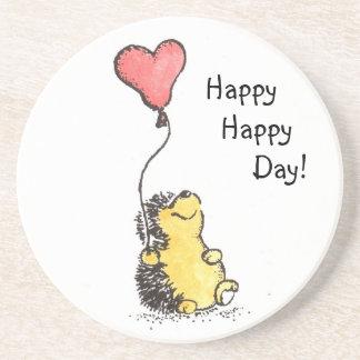 Happy Day Hedgehog Sandstone Coaster