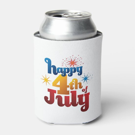 Happy Day July 4th Beverage Can Cooler