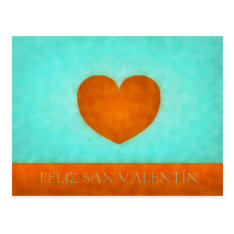Happy Day Of San Valentin. Postal Heart Orange Postcard at Zazzle