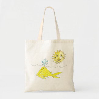 Happy Day Spouting Whale Tote Budget Tote Bag