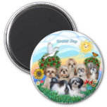 Happy Day with Six Shih Tzus 2 Inch Round Magnet