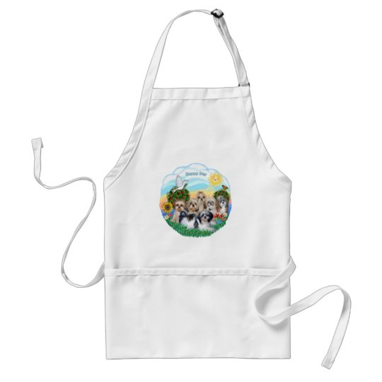 Happy Day with Six Shih Tzus Adult Apron