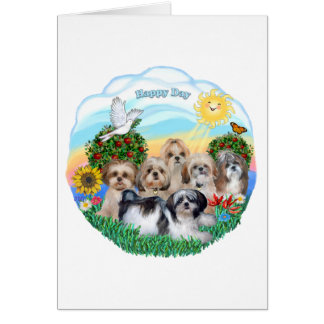 Happy Day with Six Shih Tzus Greeting Cards
