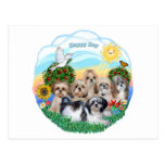 Happy Day with Six Shih Tzus Postcard