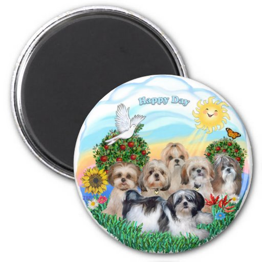Happy Day with Six Shih Tzus Refrigerator Magnet