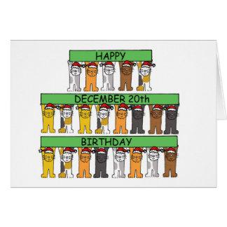 Happy December 20th Birthday Cats Card