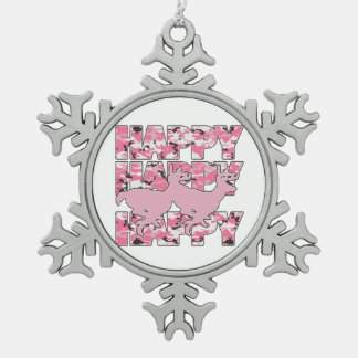 Happy Deer Pink Camouflage Xmas Snowflake Ornament Ornament