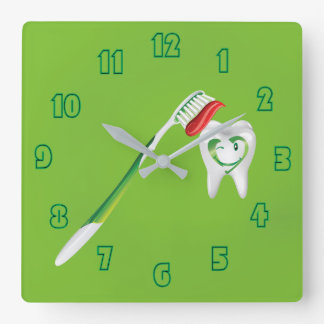Happy Dental Cartoon Tooth Toothbrush Green Square Wall Clock