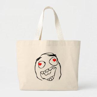 Happy derp Valentine in love - meme Canvas Bags