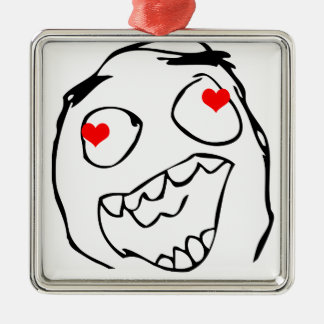 Happy derp Valentine in love - meme Metal Ornament