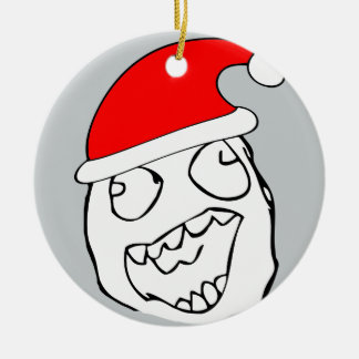 Happy derp xmas meme ceramic ornament