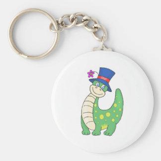 Happy Dinosaur Basic Round Button Keychain