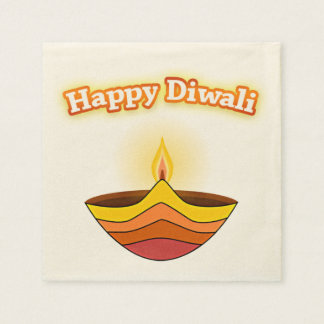 Happy Diwali and Diya Lamp Paper Napkin