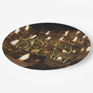 Happy Diwali Candlelight Candles Flame Lights Paper Plate