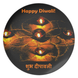 Happy Diwali Diya Lights and Hindi Greeting Melamine Plate