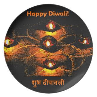 Happy Diwali Diya Lights and Hindi Greeting Melamine Plate