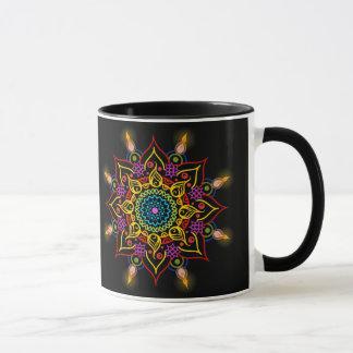 Happy Diwali flower Rangoli with oil lamps Mug