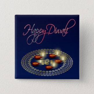 Happy Diwali Ganesha Rangoli - Button