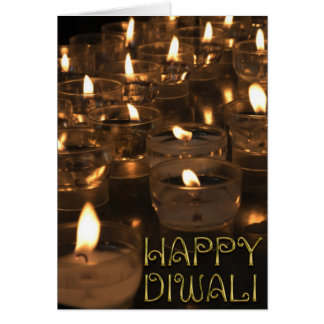 Happy Diwali Golden Typography Candles Lights Card