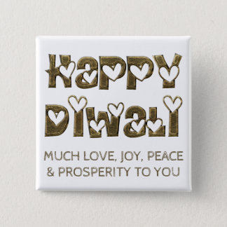 Happy Diwali Greeting Cute Heart Typography Button