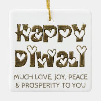 Happy Diwali Greeting Cute Hearts Typography Ceramic Ornament