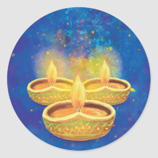 Happy Diwali hand painted illuminating candles Classic Round Sticker