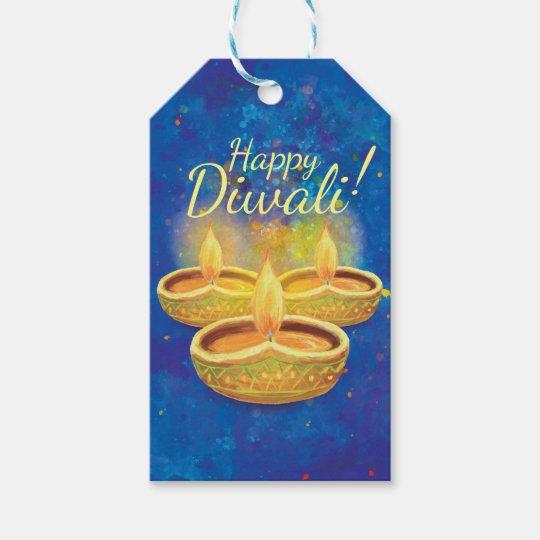 Happy Diwali Hand Painted Illuminating Candles Gift Tags
