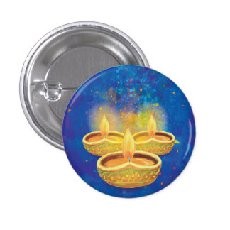 Happy Diwali hand painted illuminating candles Pinback Button