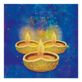 Happy Diwali hand painted illuminating candles Poster