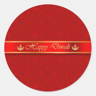 Happy Diwali Silky Ribbon Design Classic Round Sticker