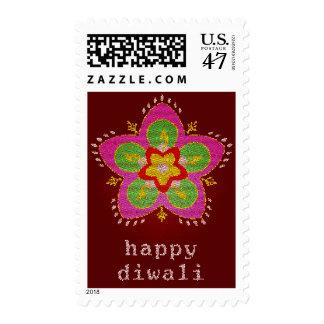 happy diwali : stained glass rangoli postage
