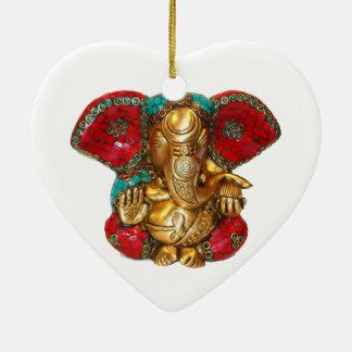 Happy DIWALI -  Thank you GANAPATI Ganesh Double-Sided Heart Ceramic Christmas Ornament