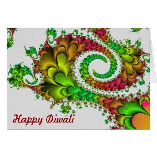 Happy Diwali with fractal swirl custm text Card