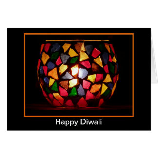 Happy Diwali with tealight candle custom text Greeting Card