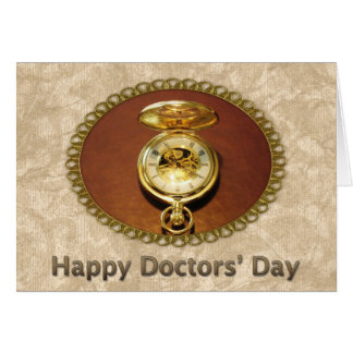Happy Doctors' Day Gold Timepiece Card